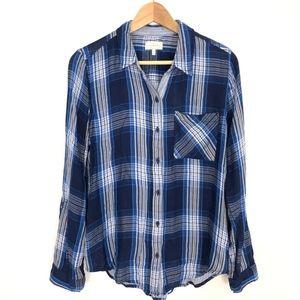 Lucky Brand Blue Plaid Shirt Button Front